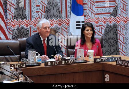 New York, USA. 28th Apr, 2017. U.S. Secretary of State Rex Tillerson and Ambassador Nikki Haley, U.S. Permanent - Stock Photo