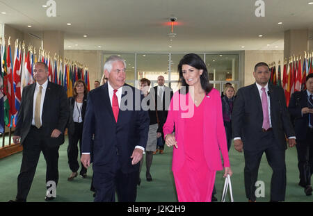 New York, USA. 28th Apr, 2017. U.S. Secretary of State Rex Tillerson walks with Ambassador Nikki Haley, U.S. Permanent - Stock Photo