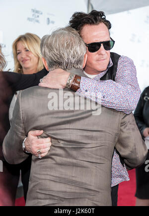 New York, USA. 28th Apr, 2017. New York, NY, USA - April 26, 2017: Michael Madsen hugs Harvey Keitel at 25th Anniversary - Stock Photo