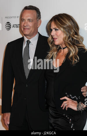 NEW YORK, NY - APRIL 26: Rita Wilson and Tom Hanks attend 'The Circle' premiere during the 2017 Tribeca Film Festival - Stock Photo