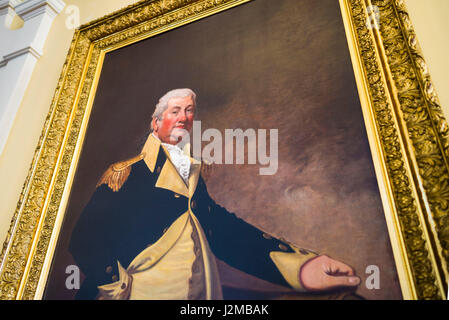 USA, Maine, Augusta, Maine State House, interior portrait of General Henry Knox, military hero of the American Revolution - Stock Photo