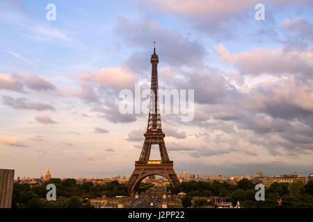 Eiffel Tower in colors of pink twilight Paris - Stock Photo