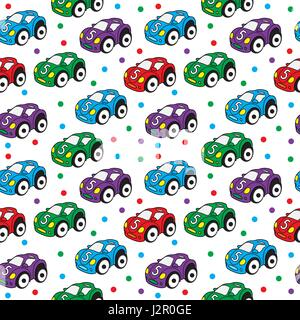 Children s toy car seamless texture. Car background, children s wallpaper. Vector illustration - Stock Photo