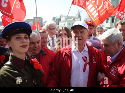 Moscow, Russia. 1st May, 2017. Russian Communist Party leader Gennady Zyuganov (C) takes part in a May Day demonstration. - Stock Photo