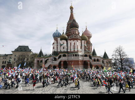 Moscow, Russia. 1st May, 2017. People participate in a May Day demonstration organized by trade unions in Moscow's - Stock Photo