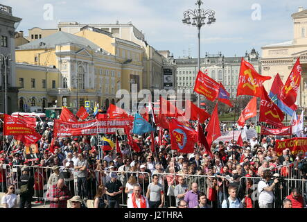 Moscow, Russia. 1st May, 2017. People take part in a May Day demonstration organized by the Russian Communist Party - Stock Photo