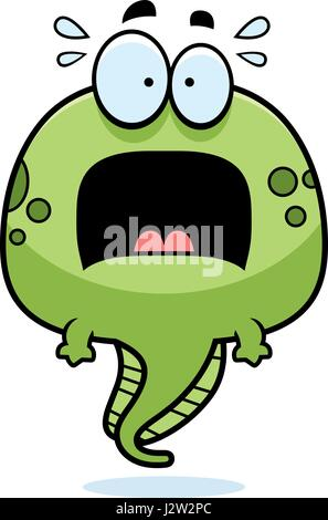 A cartoon illustration of a tadpole looking scared. - Stock Photo