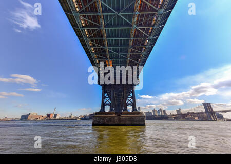 The Manhattan Bridge as seen from the Manhattan side in New York City. - Stock Photo