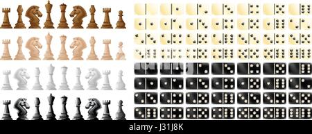 Chess pieces and domino in black and white illustration - Stock Photo