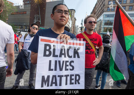 New York, USA. 01st May, 2017. New York, NY 1 May 2017 - May Day/International Workers Day rally in Union Square - Stock Photo