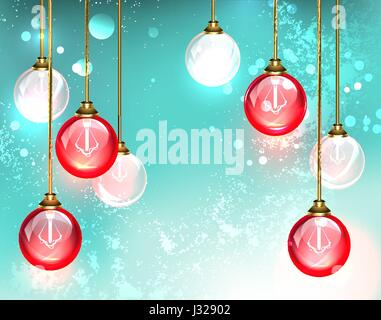 Fashion chandelier with hanging red round glass light bulb glow on the turquoise background. Design with bulbs. - Stock Photo