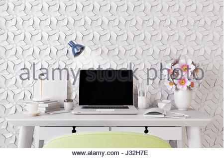 Modern room with  laptop computer on a desk,  home office workspace 3D illustration - Stock Photo