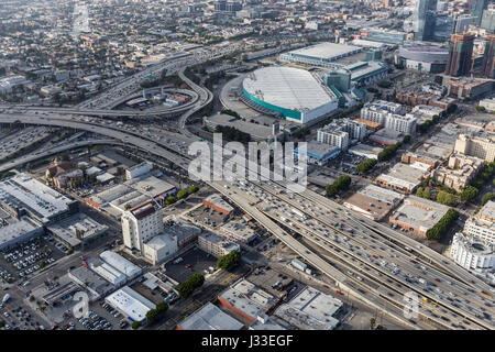 Los Angeles, California, USA - April 12, 2017:  Aerial view of Harbor 110 and Santa Monica 10 freeways interchange - Stock Photo