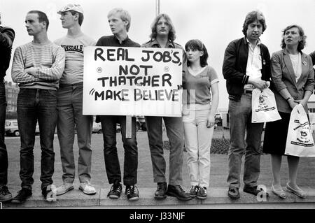General Election 1983 Uk Thatcher unemployment demonstration about job prospectives for school leavers 1980s `HOMER - Stock Photo