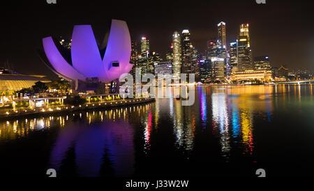 ArtScience Museum Singapore at Night - Stock Photo