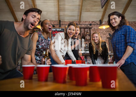 young boys beer pong