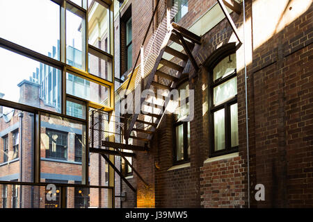 A view of the Old Clare Hotel original iron staircase, Chippendale, Sydney. This Australian Boutique Hotel is part - Stock Photo
