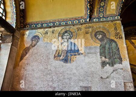 Mosaic of Jesus Christ in Hagia Sophia, Istanbul - Stock Photo