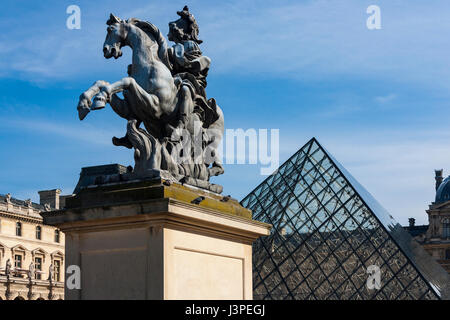 Equestrian statue of king Louis XIV in the courtyard of the Louvre Museum, Paris, France
