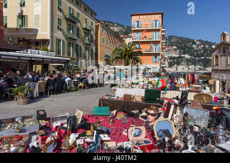 Villefranche Sur Mer, Flea Market, Welcome Hotel, Alpes Maritimes, Provence, French Riviera, Mediterranean, France, - Stock Photo