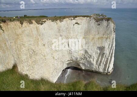 Old Harry rocks, a series of chalk sea stacks off the Dorset coast at Studland - Stock Photo