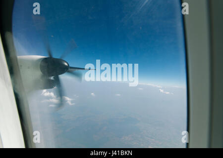 Window view form an airplane - Stock Photo