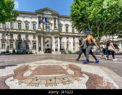 Hotel de Ville,Place de Horloge,  Cobble Stone Mosaic, Avignon, Bouche du Rhone, France - Stock Photo
