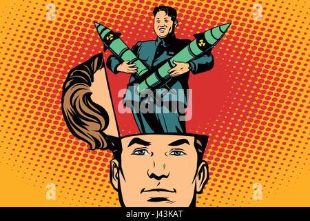Man with an open head Kim Jong UN the leader of North Korea. Comic cartoon style pop art retro color vector illustration - Stock Photo