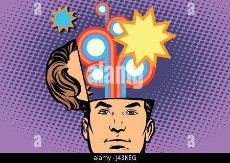 Man with an open head festival fireworks carnival celebration. Comic cartoon style pop art retro color vector illustration - Stock Photo