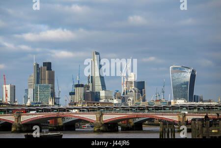 Iconic modern architecture buildings on the skyline of City of London financial district, Tower 42, Cheesegrater, - Stock Photo