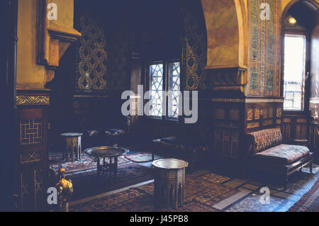 cairo, egypt, may 6, 2017: view inside residence hall of muhammad ali at manial palace - Stock Photo