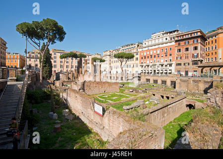 Largo di Torre Argentina in Rome on a sunny day with blue sky. - Stock Photo