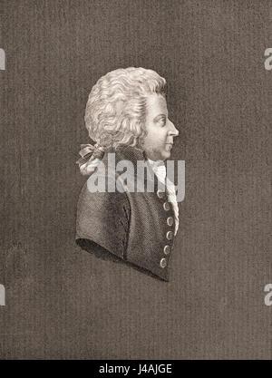 Wolfgang Amadeus Mozart, 1756 - 1791. Austrian composer and musician. - Stock Photo