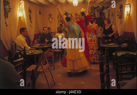 Spain, Andalusia, Seville, Feria de Abril, bar, flamenco dancers no model release, Europe, Andalucia, feast, celebration, - Stock Photo