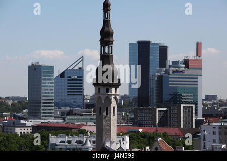 Estonia, Tallinn, Old Town, city hall tower, city hall, Neustadt, high rises, - Stock Photo