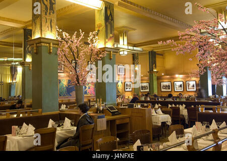 France, Paris, restaurant La Coupole, guests, - Stock Photo