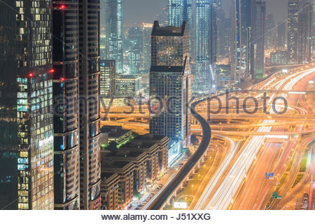 Dubai, Towering office and apartment towers along Sheikh Zayed Road - Stock Photo