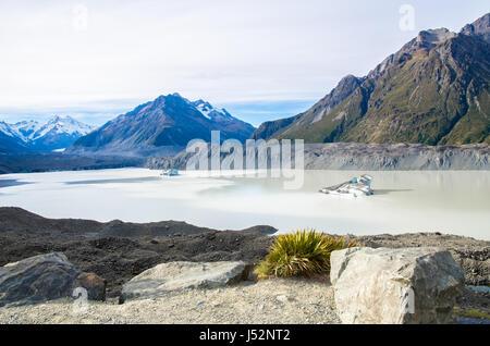 Tasman Glacier Terminal Lake in New Zealand's South Island - Stock Photo