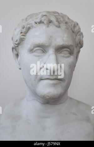 Marble bust of Roman republican statesman Lucius Cornelius Lentulus, who was the consul of the Roman Republic in - Stock Photo