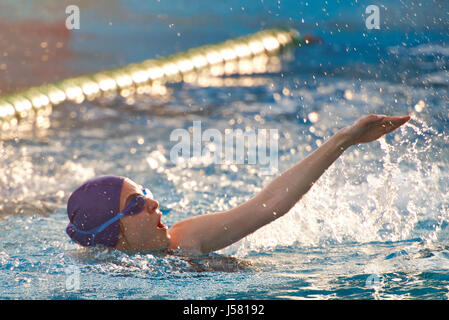 A Female Swimmer Training In An Open Air Olympic Swimming Pool Stock Photo Royalty Free Image