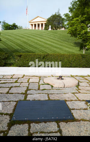 JFK President John F Kennedy grave site arlington cemetary Washington DC USA - Stock Photo