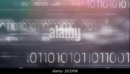 Digital composite of White binary code against purple and green blurry background - Stock Photo