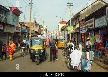 Market street, Trivandrum (Thiruvananthapuram). Kerala, India - Stock Photo