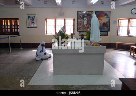 Mother Teresa tomb in Mothers House in Kolkata, India on February 11, 2016. - Stock Photo