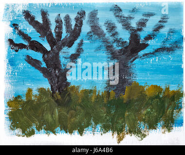 Multicolored abstract background painted with gouache. Design element. Trees and grass against the blue sky. - Stock Photo