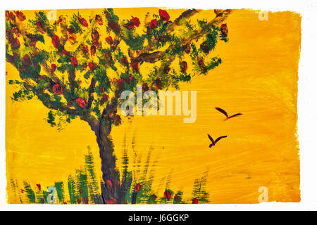 Tree and grass drawing gouache. Design element. Children's creativity. Expressive painting with gouache paints. - Stock Photo