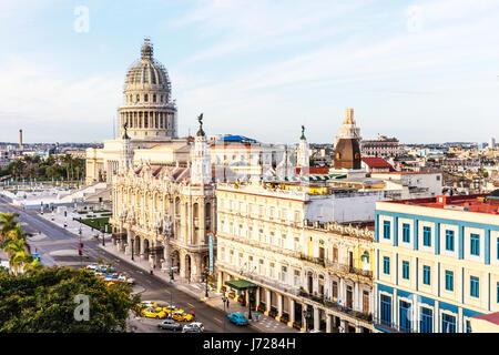 Cuba, Havana. Paseo de Marti. Hotel Inglaterra, National Theater, Capitol, from right foreground to left Havana - Stock Photo