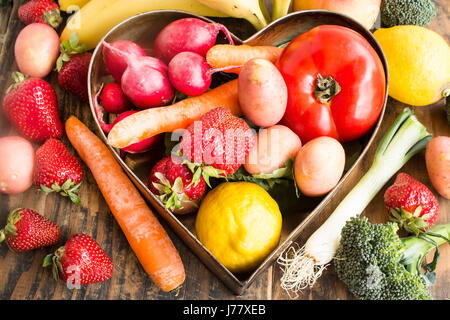 Various Healthy Food, Fruits and Vegetables. - Stock Photo