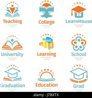 Isolated abstract colorful education and learn logo set, university and school books, graduate hats and human silhouettes - Stock Photo