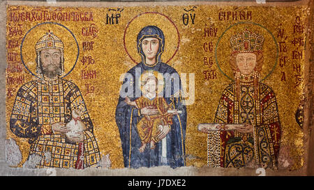 Mosaic of Virgin Mary and Jesus Christ and other Saints in the Hagia Sofia church, Istanbul, Turkey. - Stock Photo